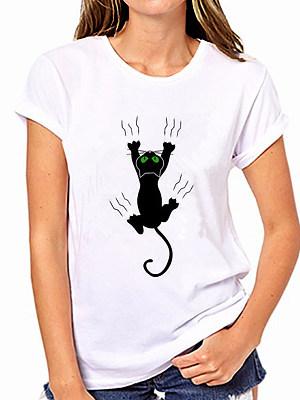 Round Neck Black Cat Prints Summer Short Sleeve T-Shirts фото