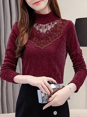 Autumn Spring Cotton Women High Neck Decorative Lace Patchwork Plain Long Sleeve T-Shirts