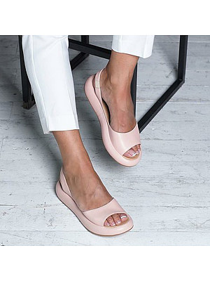Plain Flat Peep Toe Casual Travel Flat Sandals фото