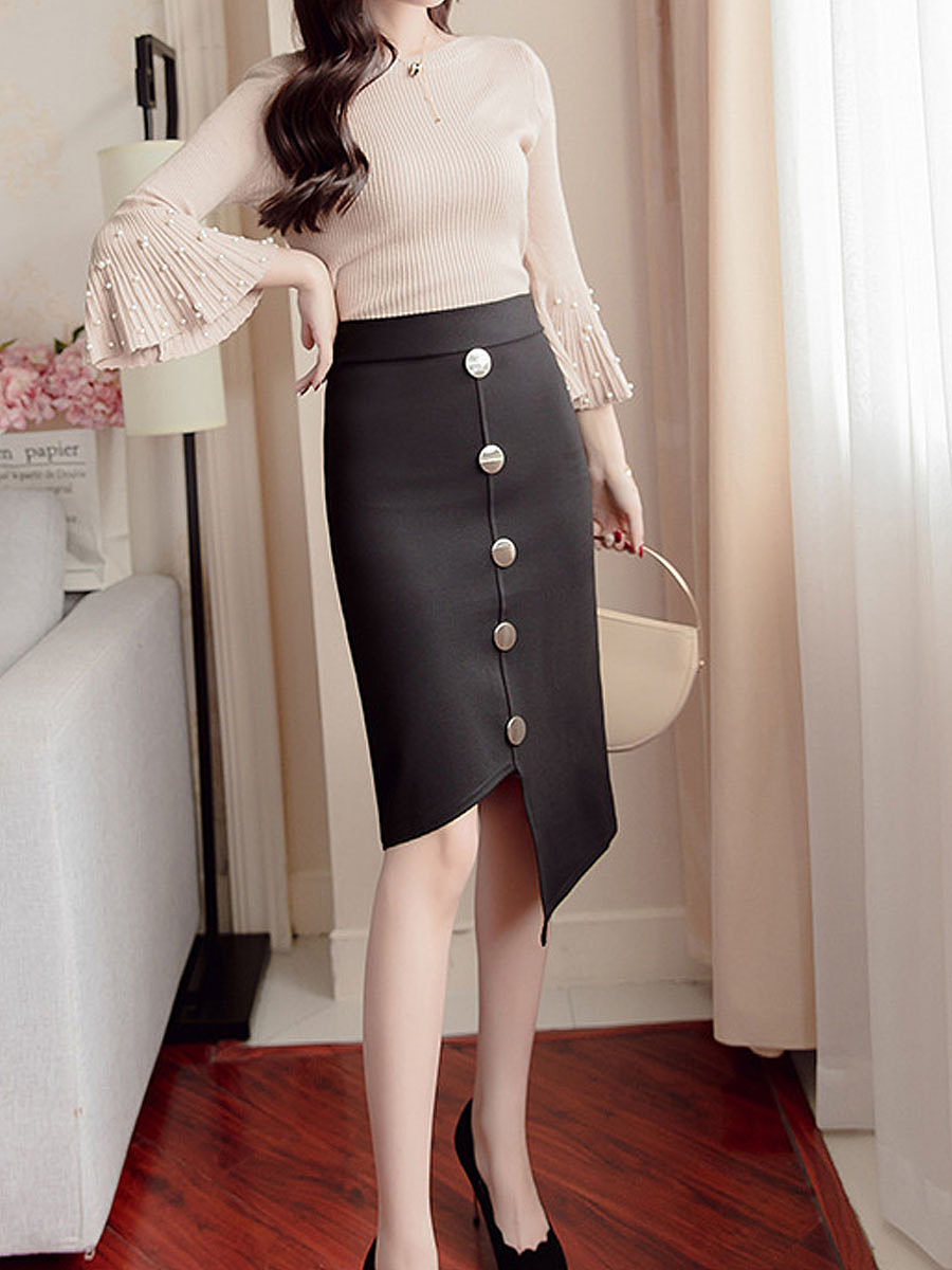 Asymmetric Hem Single Breasted  Decorative Button  Plain  Straight Knee-Length Skirts