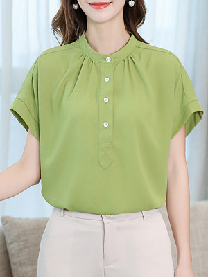 Band Collar Loose Fitting Plain Blouses, 6700250