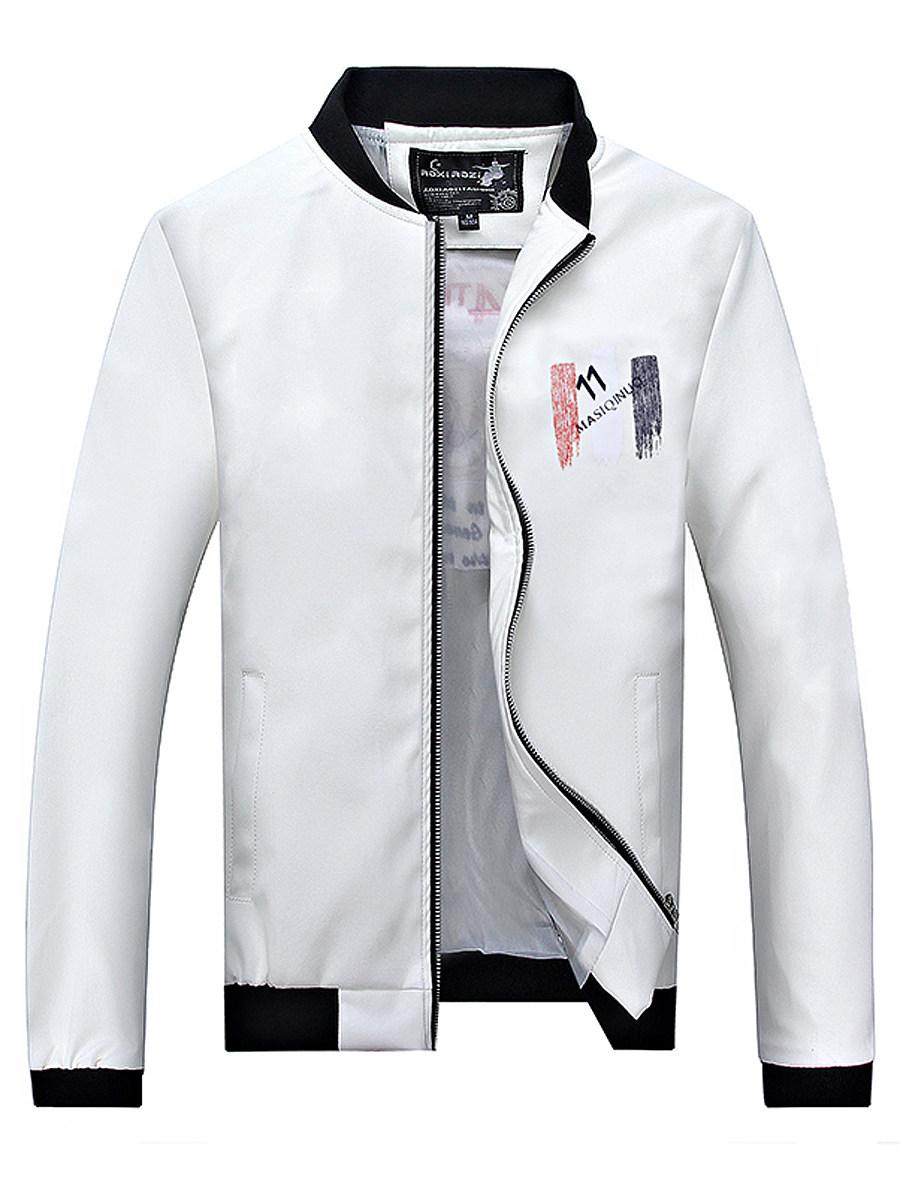 Band Collar Pocket Printed PU Leather Men Jacket