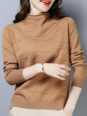 Short High Collar Elegant Plain Long Sleeve Knit Pullover, 9909338