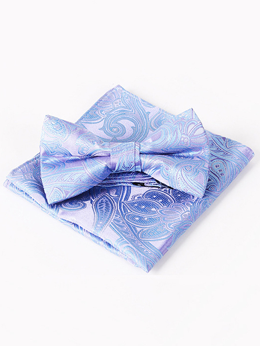 Banquet Style Paisley Jacquard Pocket Square Bow Tie