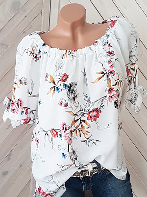 Round Neck Loose Fitting Printed Short Sleeve T-Shirts, 6355505