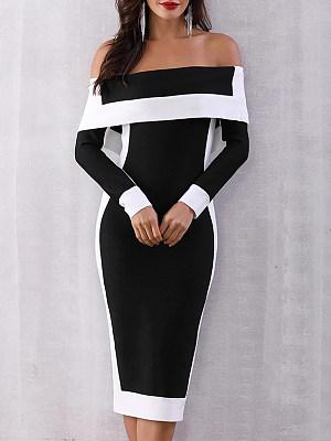 Open Shoulder  Patchwork Slit  Color Block Colouring Bodycon Dress