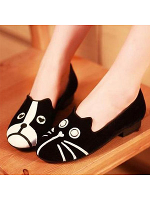 Cartoon Color Block Flat Velvet Round Toe Casual Outdoor Comfort Flats фото