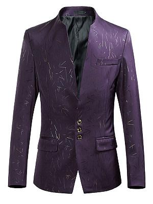 Designed Collarless Flap Pocket Printed Men Blazer