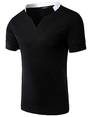 Split Neck Contrast Trim Men T-Shirt