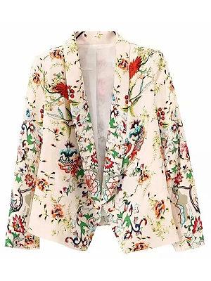 Shawl Collar Floral Printed Blazer