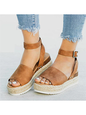 Plain Velvet Peep Toe Casual Platform Sandals фото