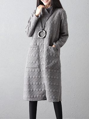 High Neck Patch Pocket Plain Shift Dress, 9771124