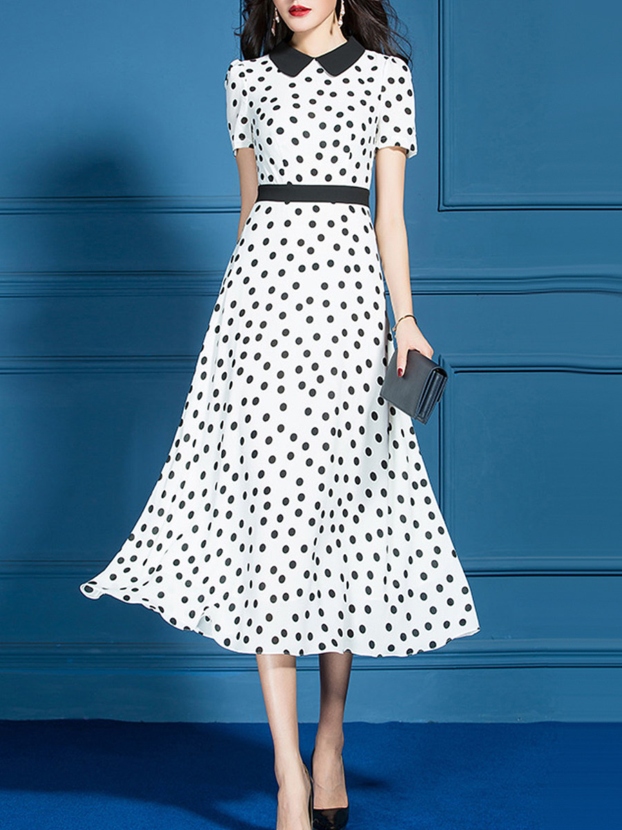 Doll Collar Polka Dot Patchwork Maxi Dress