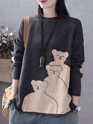 Round Neck Patchwork Casual Animal Printed Long Sleeve Knit Pullover, 9474401