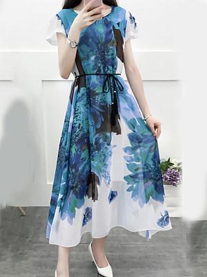 Round Neck Printed Maxi Dress, 7178235
