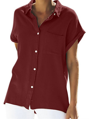 Turn Down Collar Single Breasted Plain Blouses, 7457900