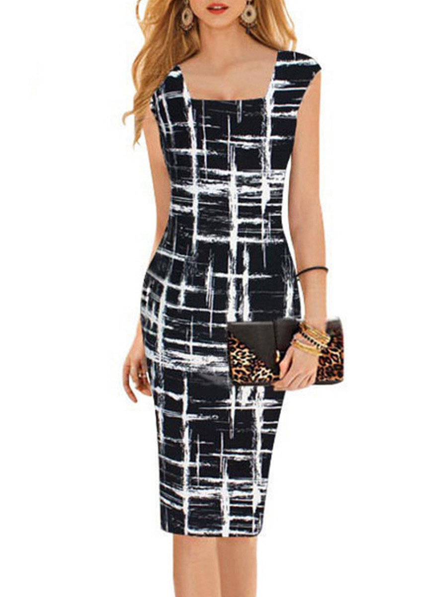 BerryLook Boat Neck  Print Bodycon Dress