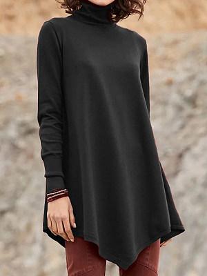 Heap Collar Casual Plain Long Sleeve T-Shirt, 9040040