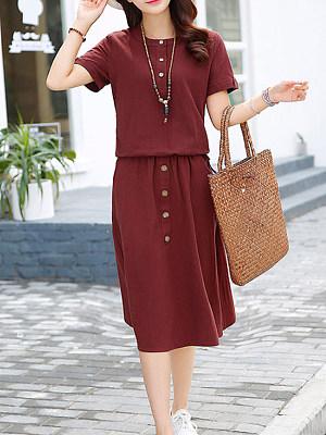 Round Neck  Decorative Buttons Patch Pocket  Plain Maxi Dress