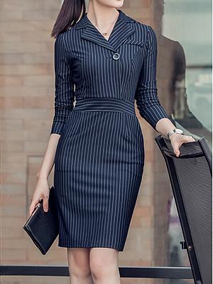 Fold-Over Collar Vertical Striped Bodycon Dress, 5129044