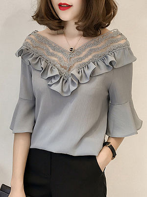 Spring Summer Chiffon Women V-Neck Bowknot Decorative Lace Flounce See-Through Plain Bell Sleeve Half Sleeve Blouses, 4445883