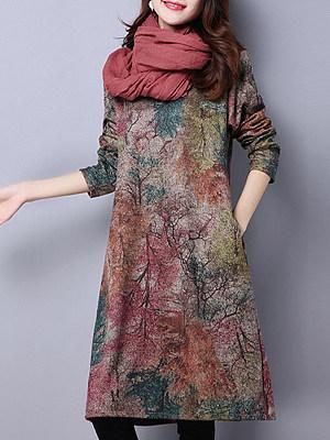 Round Neck Patch Pocket Print Shift Dress, 5608899