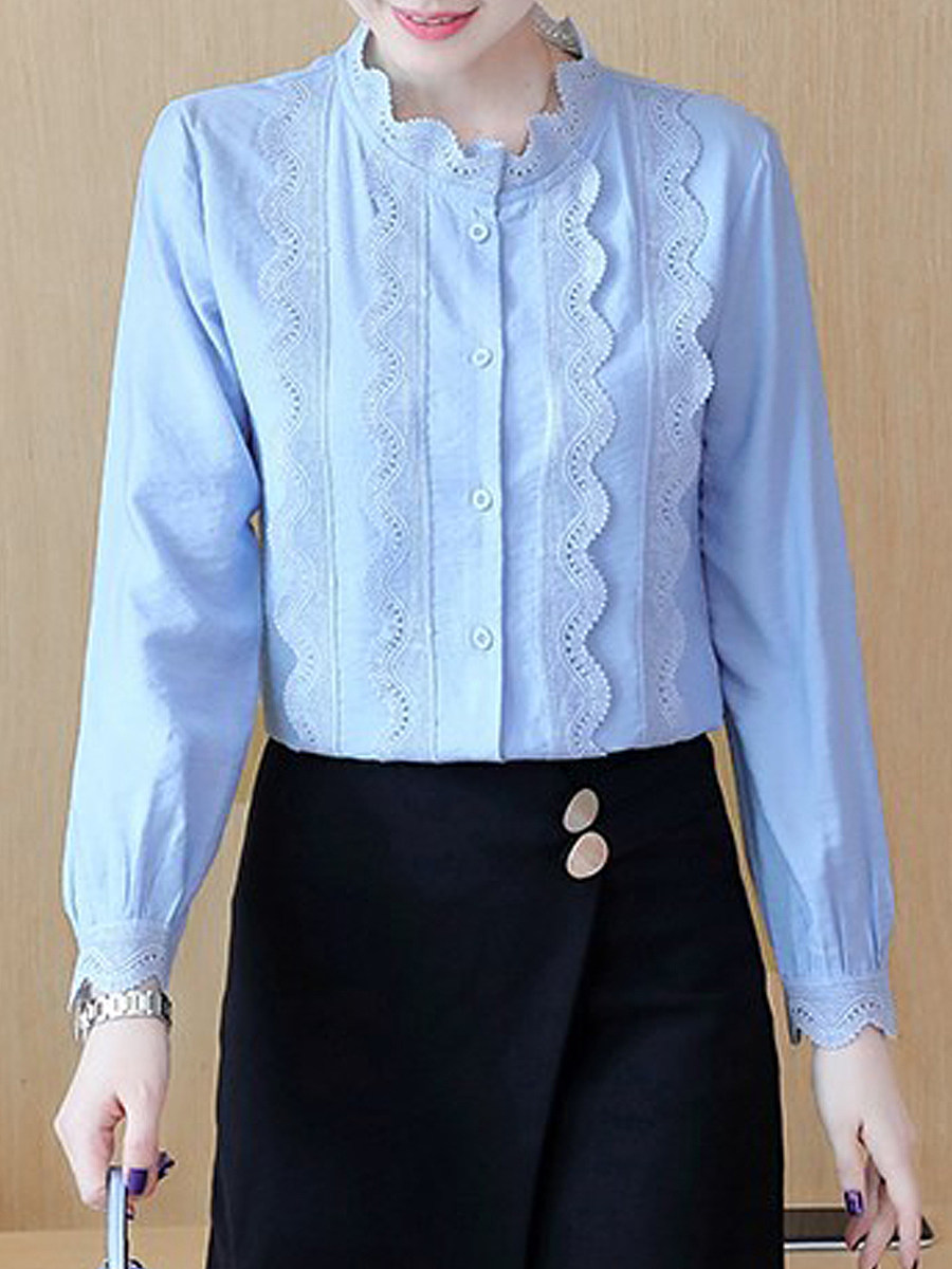 Autumn Spring Cotton Women High Neck Decorative Lace Single Breasted Plain Long Sleeve Blouses