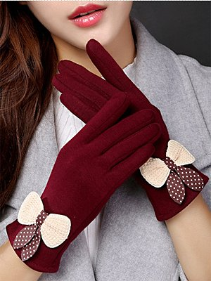 Elegant Thick Woolen Decoration Cotton Gloves
