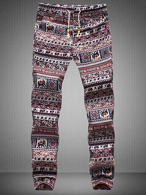 Tribal Printed Striped Elastic Waist Men's Casual Pants