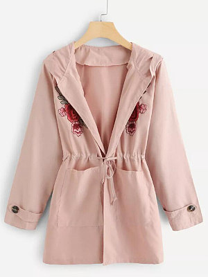 Hooded  Drawstring Embroidered Trench Coat