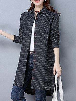 Lapel Patchwork Brief Striped Long Sleeve Blouse, 8512686
