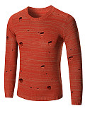 Distressed Round Neck Plain Men'S Sweater