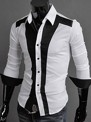 Modern Black White Color Block Men Shirts фото