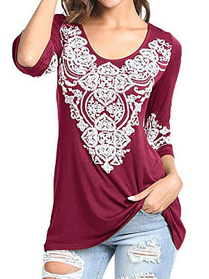 BERRYLOOK / Round Neck Printed Long Sleeve T-Shirts