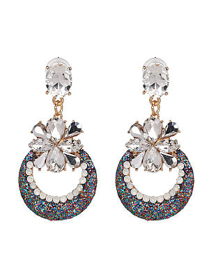 Pair Of Faux Glass Floral And Circle Earrings