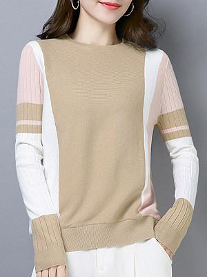 Round  Neck  Elegant  Color Block  Long Sleeve  Knit  Pullover