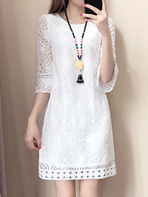 Round Neck  Lace  Lace Shift Dress