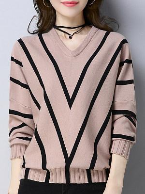 V Neck  Stripes  Batwing Sleeve Knit Pullover