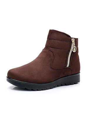 Купить Plain Flat Velvet Round Toe Casual Outdoor Short Flat Boots
