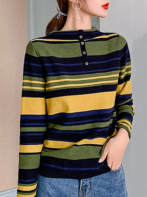 Round Neck Casual Striped Long Sleeve Knit Pullover, 9474490