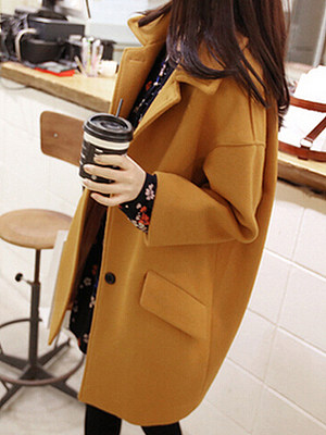 Lapel Flap Pocket Plain Woolen Coat, 4065196