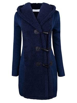 Hooded Decorative Buttons Plain Coats фото