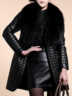 Faux Fur Collar  Slit Pocket  Plain Coats
