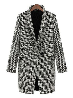 Elegant  Zigzag Striped  Lapel With Pockets Coats