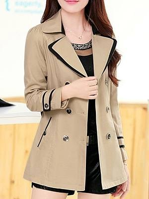 Fold Over Collar  Double Breasted  Belt  Plain Trench Coats