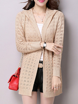 Hat Collar Patchwork Elegant Plain Long Sleeve Knit Cardigan