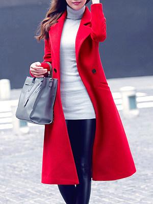 Lapel Plain Pocket Longline Woolen Coat фото