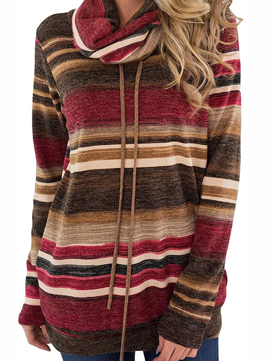 Autumn Spring Winter  Cotton  Women  Cowl Neck  Drawstring  Striped Long Sleeve T-Shirts