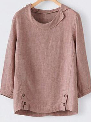 Round Neck Regular Casual Plain Short Sleeve Blouse, 8299394