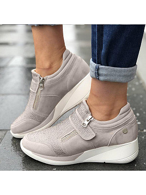 Plain Round Toe Casual Date Travel Sneakers, 7327183